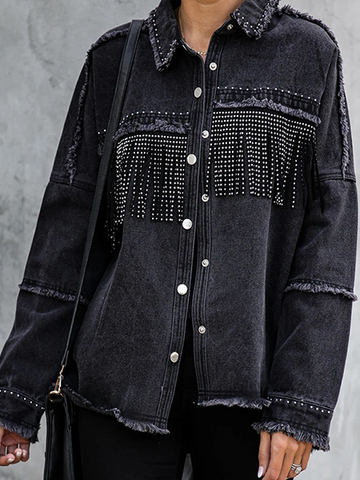 Black Long-Sleeved Denim Jacket
