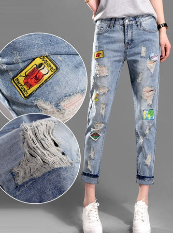Sticker Pattern Embroidery Hole Jeans