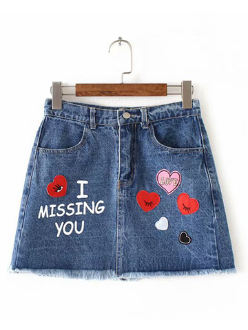 High Waist Heart Patch A-line Denim Skirt