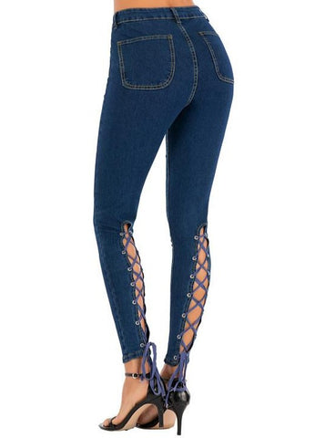 High-waisted Lacing Stretch Jeans