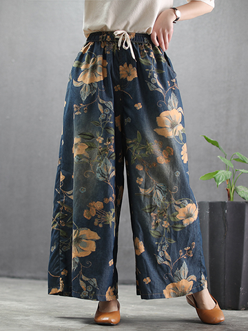 Floral Pattern Loose High Waist Wide-leg Jeans
