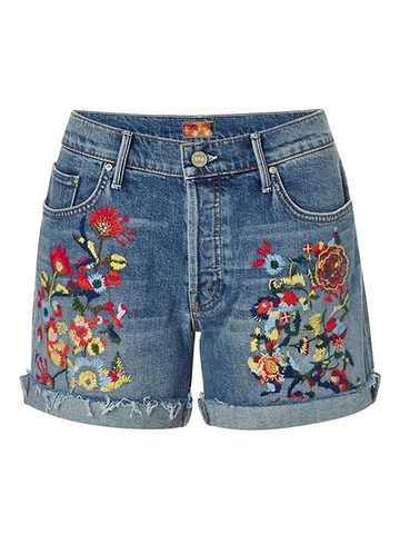 Plus Size Summer Boho Embroidery Shorts