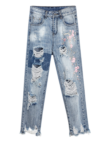 Floral Embroidered Slim-fit Jeans