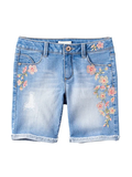 Floral Patchwork Denim Shorts