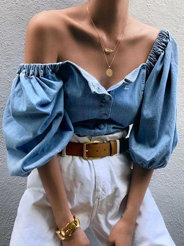 Denim Fashion Casual Tops