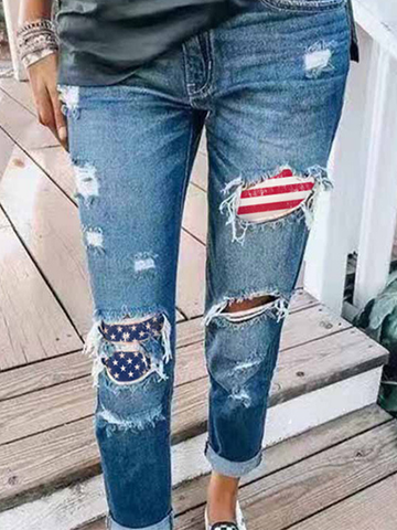 Flag Slim Printed Jeans