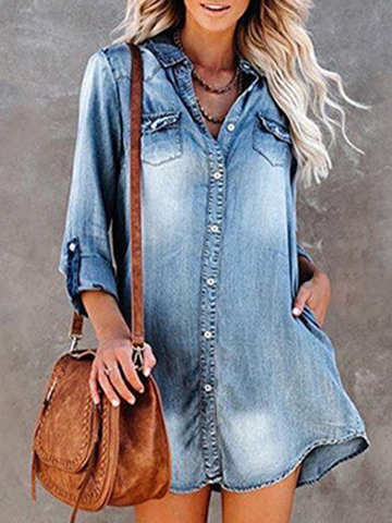 Long Sleeve Plus Size Denim Shirt