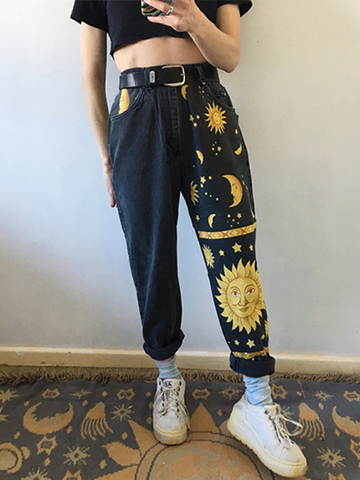 Digital Print Straight-leg Jeans