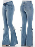 Mid-waist Lace-up Denim Jeans