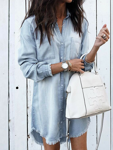 Long Sleeve Fringed Denim Shirt