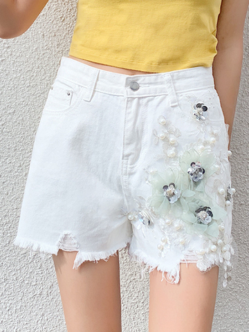 Floral Pattern Pearl High-rise Denim Shorts