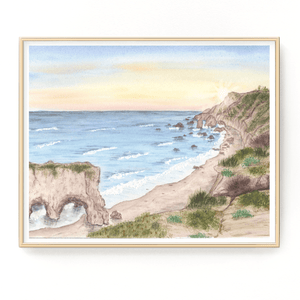 El Matador Beach Watercolor Painting, California Art, El Matador Print, California Art Souvenir - Emilie Taylor Art