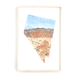 Nevada Watercolor Print, Nevada State Art, Home State Art, Nevada map art, Nevada Map Poster - Emilie Taylor Art