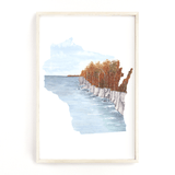 Wisconsin Watercolor Print, Wisconsin State, State Art, Wisconsin wall art, Door County in the Fall - Emilie Taylor Art