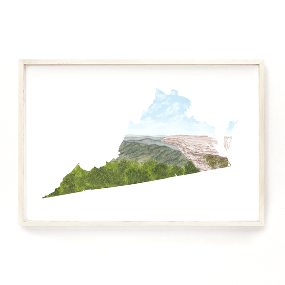Virginia Watercolor Print, Virginia State Art, Virginia Painting,Virginia Map, Virginia Gift - Emilie Taylor Art