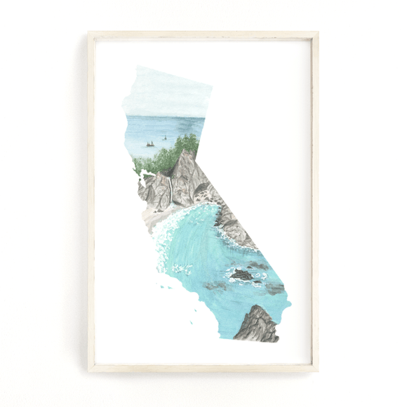 California Watercolor Print, California State, Home State Wall Art, California Shape Wall Art