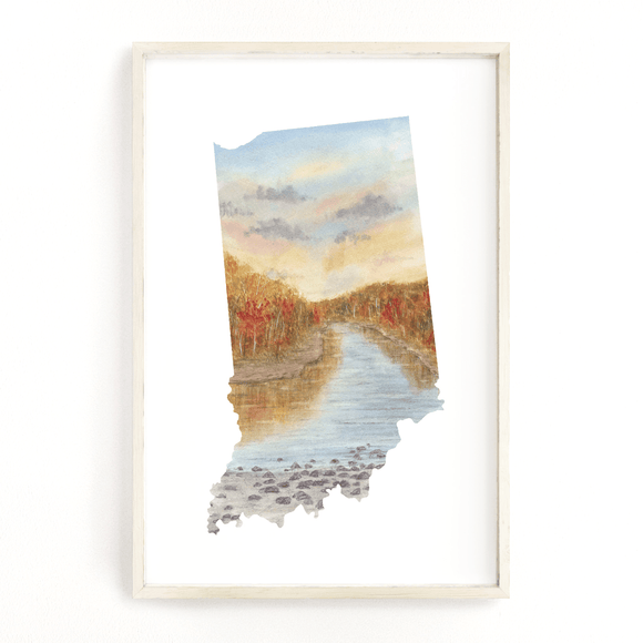 Indiana Watercolor Print, Indiana State Art,  Indiana Print, Indiana map art, Indiana Poster - Emilie Taylor Art