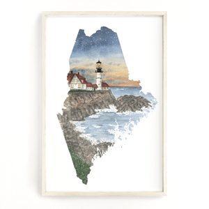 Maine Watercolor Print, Maine State Art, Home State Art, Maine map art, Maine Map Poster, - Emilie Taylor Art