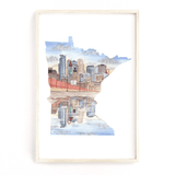 Minnesota Watercolor Painting, Minneapolis City Art, Minnesota City print