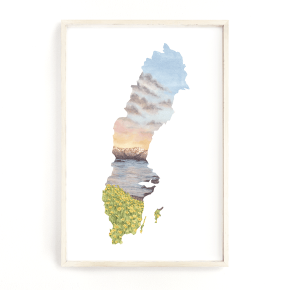 Sweden Watercolor Print, Sweden Art, Sweden Painting, Abisko National Park, Sweden shape Print - Emilie Taylor Art