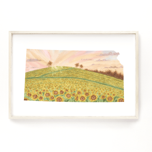 Kansas Watercolor Print, Kansas State Art, Home State Art, Kansas map art, Sunflower Field KS - Emilie Taylor Art