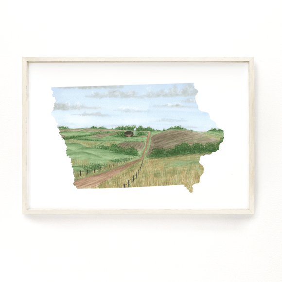 Iowa Watercolor Painting, Iowa State Art, Iowa Home State Print, Iowa Gift, Iowa Art - Emilie Taylor Art