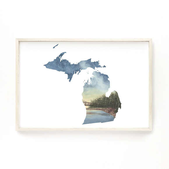 Michigan Watercolor Print, Michigan State Art, Home State Art, MI Map, Michigan Map Art - Emilie Taylor Art
