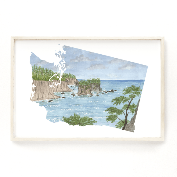 Washington Watercolor Print, Washington State Art, Washington Painting, Washington Map Print - Emilie Taylor Art