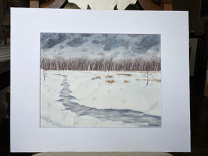 "Original Painting ""A Winter Walk"" Mated to size 16x20"