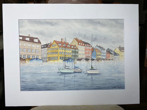 "Original Painting ""Misty Morning in Copenhagen"" Mated to size 18x24"