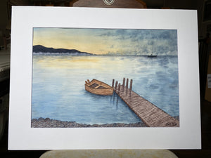 "Original Painting ""Rowboat #3"" Mated to size 18x24"