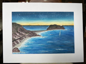 "Original Painting ""Point Sur"" Mated to size 18x24"