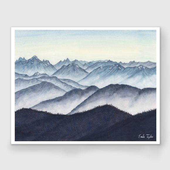 Monochromatic Cascades Watercolor Painting