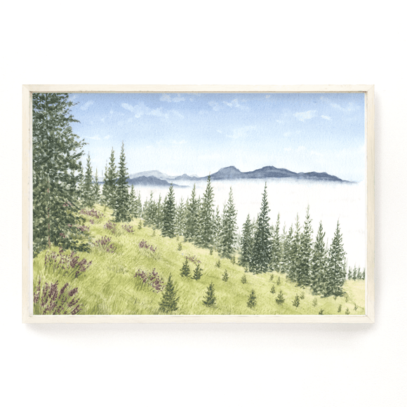Mountains of Washington Watercolor Painting, Washington Art Print,  Olympic National Park Art - Emilie Taylor Art
