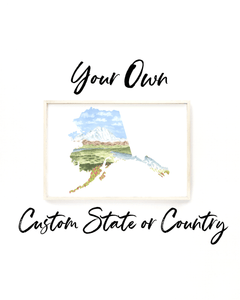 Custom Watercolor State Print, Custom State Art, Custom Country, Commission State or Country Art - Emilie Taylor Art