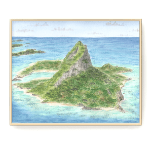 Fantasy Island Watercolor Painting, Island Art, Tropical Island Print, Paradise Vacation Souvenir - Emilie Taylor Art