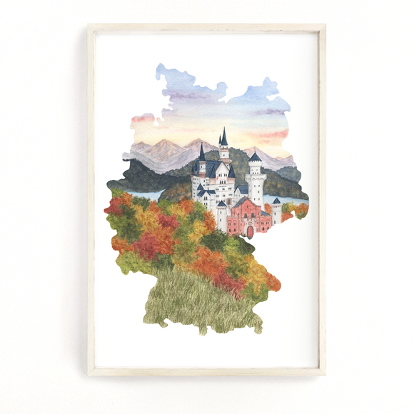Germany Watercolor Print, Germany Painting, Neuschwanstein Castle, Germany Gift