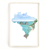 Brazil Watercolor Print, Brazil Painting, Fernando de Noronha National Park, Brazil South America