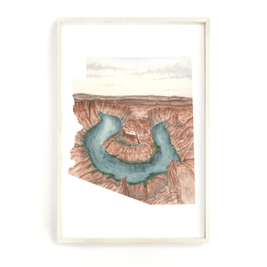 Arizona Watercolor Painting, Arizona State,  Horseshoe bend, Arizona Shape Wall Art, Arizona Gift