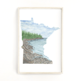 Minnesota Watercolor Painting, MN North Shore Decor, Minnesota State shape art, Minnesota print - Emilie Taylor Art