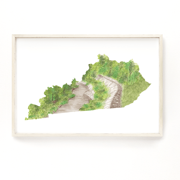 Kentucky Watercolor Print, Kentucky State, Home State Art, Kentucky map art,  Big South Fork River - Emilie Taylor Art