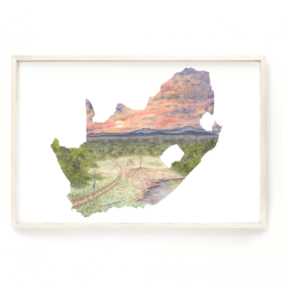 South Africa Watercolor Print, South Africa Painting, Kruger National Park, African Bush, Safari Art