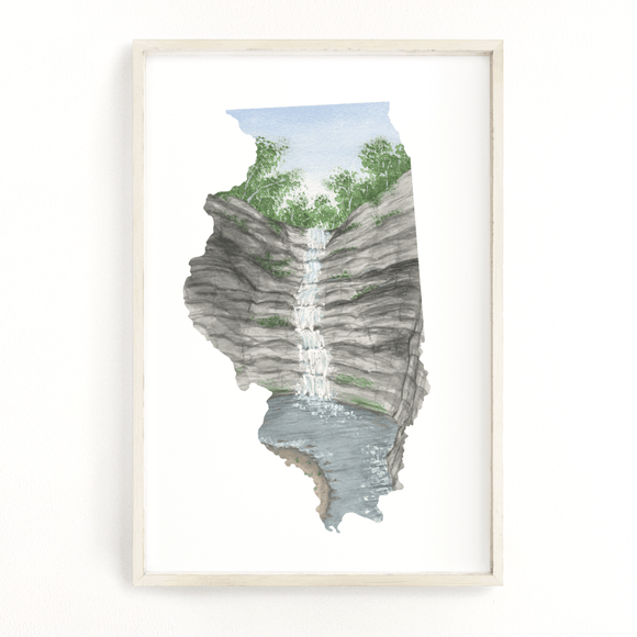 Illinois Watercolor Painting, Illinois Art, Illinois Map, Starved Rock State Park IL, French Canyon - Emilie Taylor Art