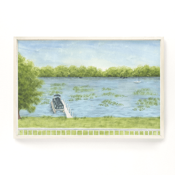 Lakeview Watercolor Painting, Lake Art, Lake home Print, Lake home Gift, Lake Home, Lake House Art - Emilie Taylor Art