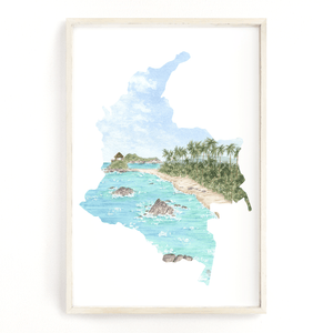 Colombia Watercolor Print, Colombia Painting, Tayrona National Park, Colombia South America gift