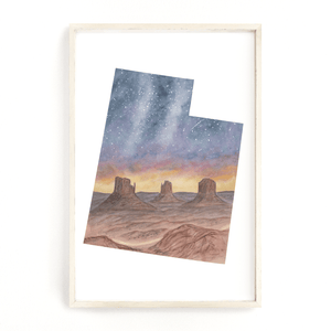 Utah Watercolor Painting, Utah State Art, Utah Map Print, Utah Gift, Monument Valley Print, UT Art - Emilie Taylor Art