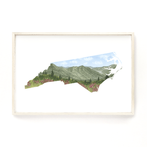 North Carolina Watercolor Print, North Carolina State Art, NC Map, North Carolina Art Print - Emilie Taylor Art
