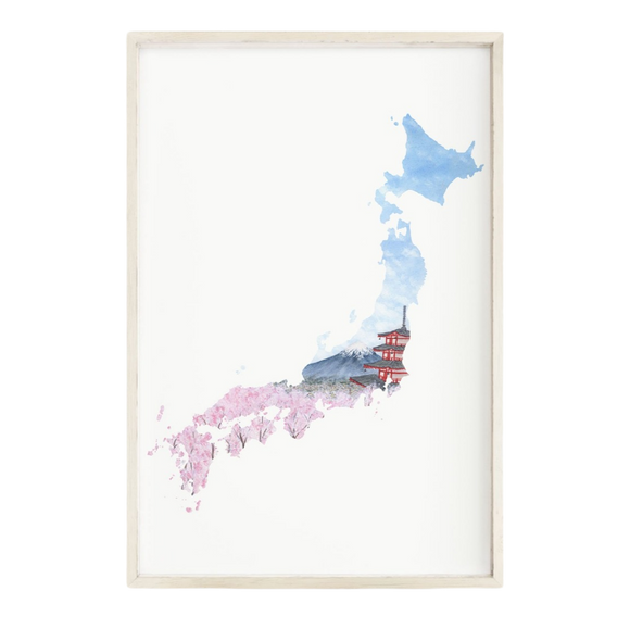 Japan Watercolor Painting, Japan Art, Mount Fuji, Japan Souvenir, Japan Country Print