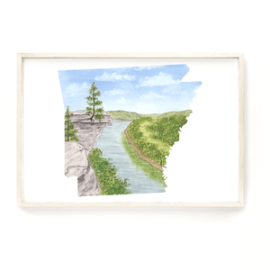 Arkansas Watercolor Print, Arkansas State Art, Arkansas Painting, Arkansas Map, Arkansas Gift,