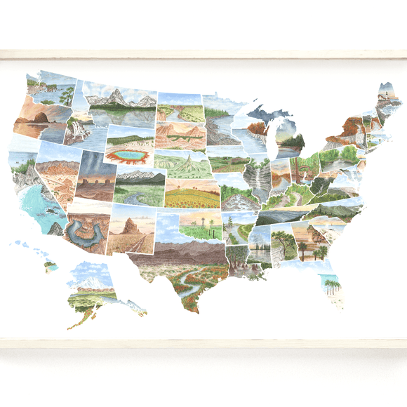 USA Watercolor Map Painting